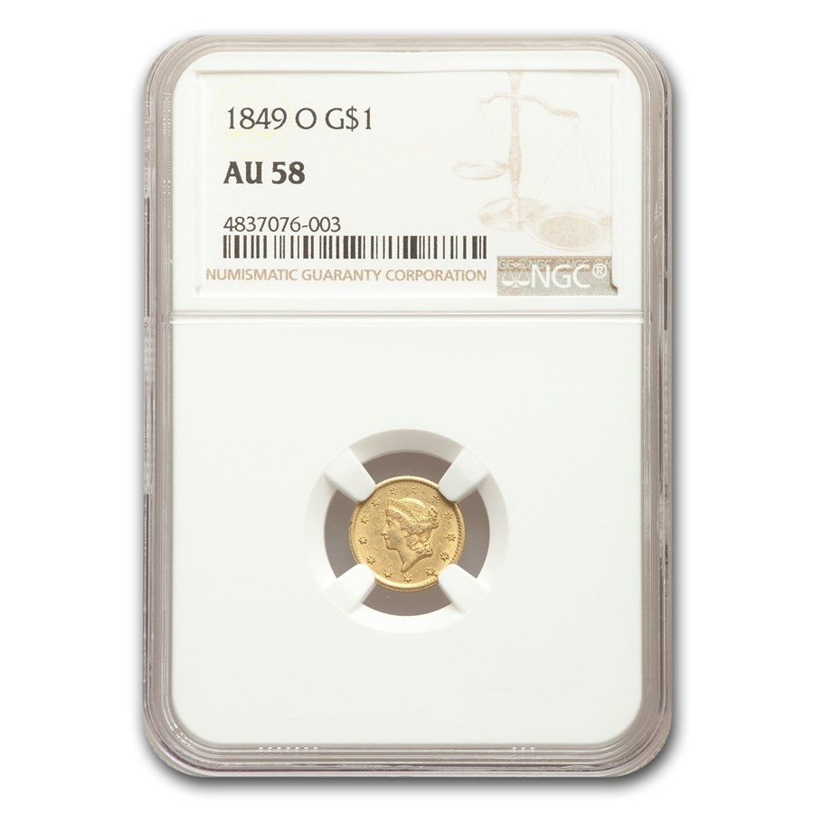 1849-O $1 Liberty Head Gold AU-58 NGC