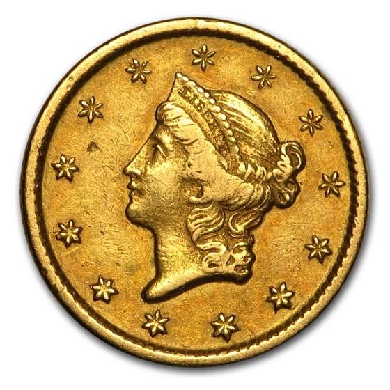 1849-O $1 Liberty Head Gold Dollar Open Wreath XF
