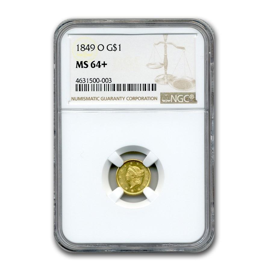 1849-O $1 Liberty Head Gold MS-64+ NGC