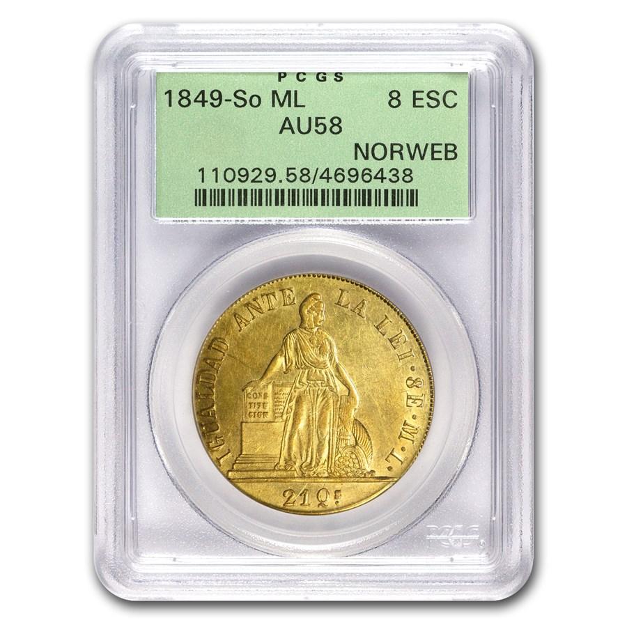 1849-So ML Chile Gold 8 Escudos AU-58 PCGS