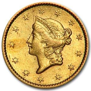 1850 $1 Liberty Head Gold AU