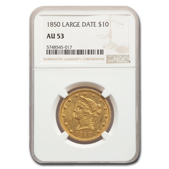 1850 $10 Liberty Gold Eagle AU-53 NGC (Large Date)