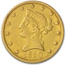 1850 $10 Liberty Gold Eagle Large Date VF Details (Cleaned)