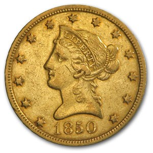1850 $10 Liberty Gold Eagle Small Date XF-45