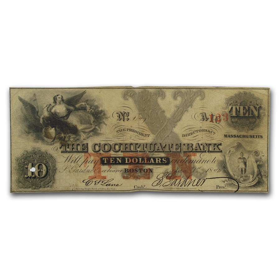 1850 $10 The Cochituate Bank of Boston, MA MA-130 VF