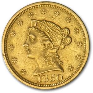 1850 $2.50 Liberty Gold Quarter Eagle AU Details (Cleaned)