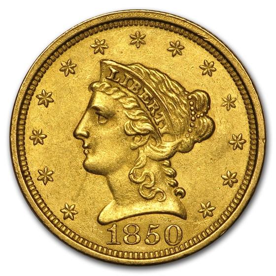 1850 $2.50 Liberty Gold Quarter Eagle AU