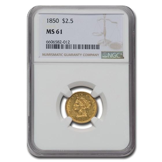 1850 $2.50 Liberty Gold Quarter Eagle MS-61 NGC