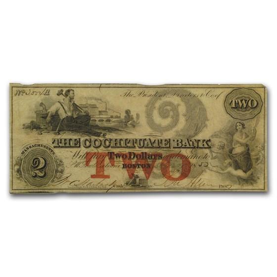 1850 $2 The Cochituate Bank of Boston, MA MA-130 VF