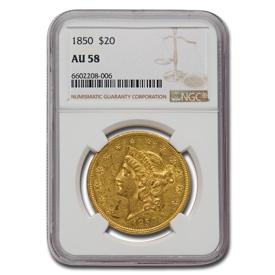 1850 $20 Liberty Gold Double Eagle AU-58 NGC