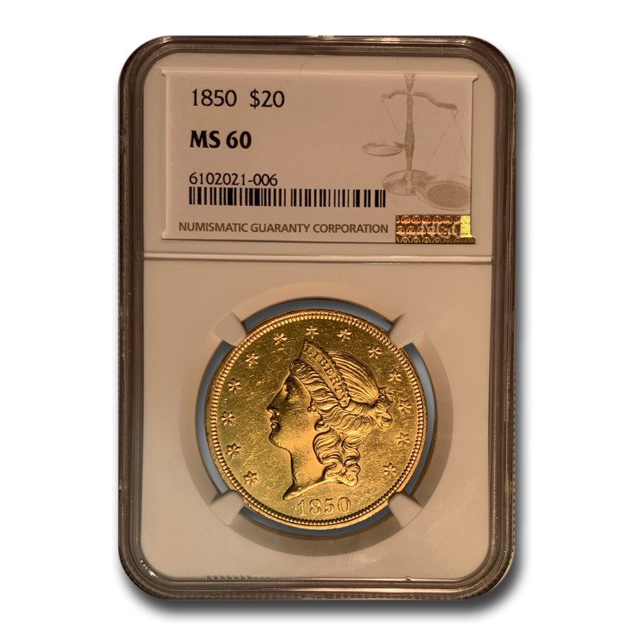 1850 $20 Liberty Gold Double Eagle MS-60 NGC
