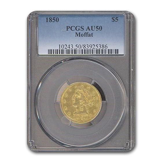 1850 $5 Moffat & Co. Gold Half Eagle AU-50 PCGS