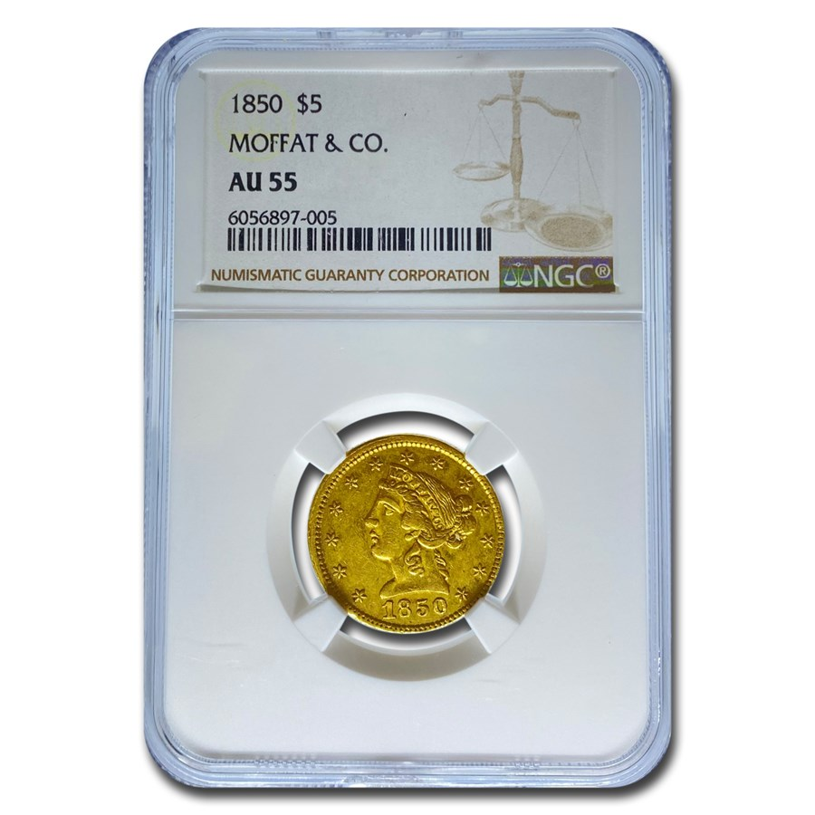 1850 $5 Moffat & Co. Liberty Gold Half Eagle AU-55 NGC