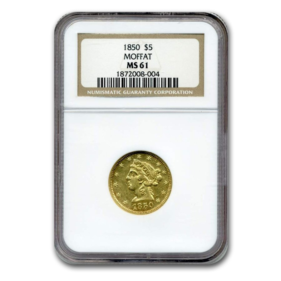 1850 $5 Moffat & Co. Liberty Gold Half Eagle MS-61 NGC