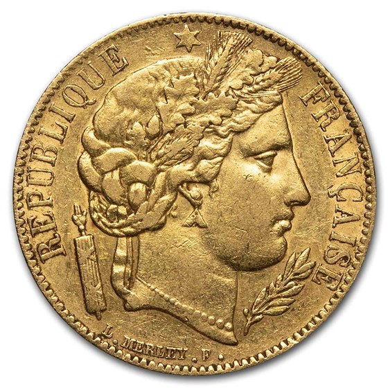 1850-A France Gold 20 Francs Early Head Ceres AU