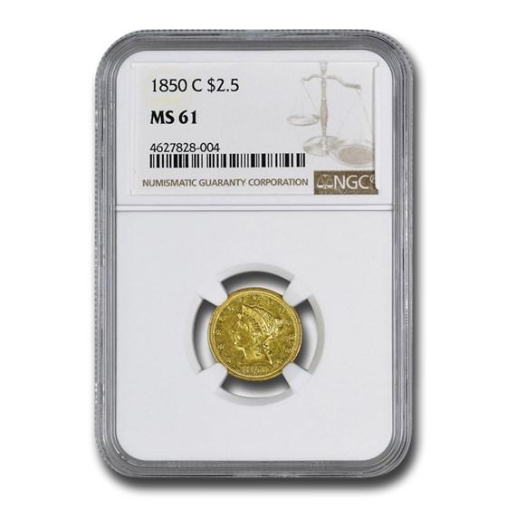 1850-C $2.50 Liberty Gold Quarter Eagle MS-61 NGC