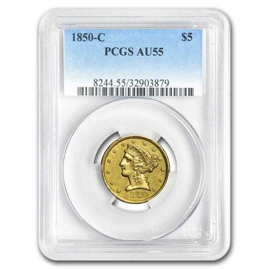 1850-C $5 Liberty Gold Half Eagle AU-55 PCGS