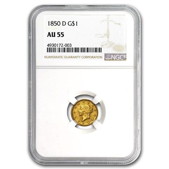 1850-D $1 Liberty Head Gold AU-55 NGC