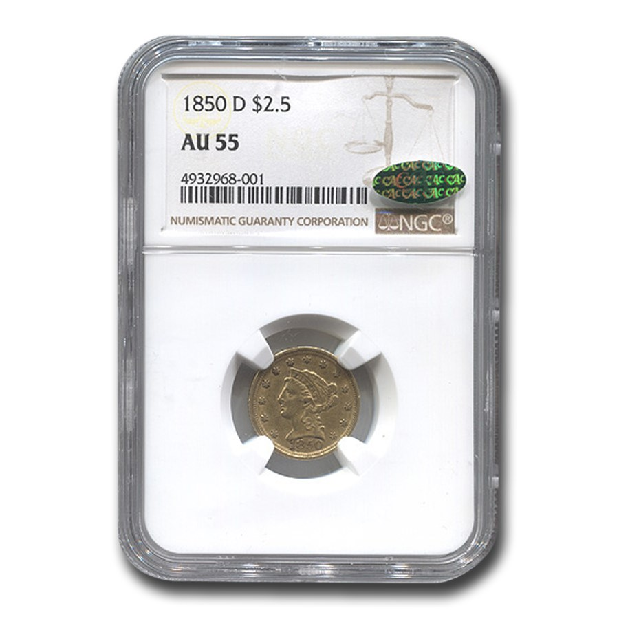 1850-D $2.50 Liberty Gold Quarter Eagle AU-55 NGC CAC