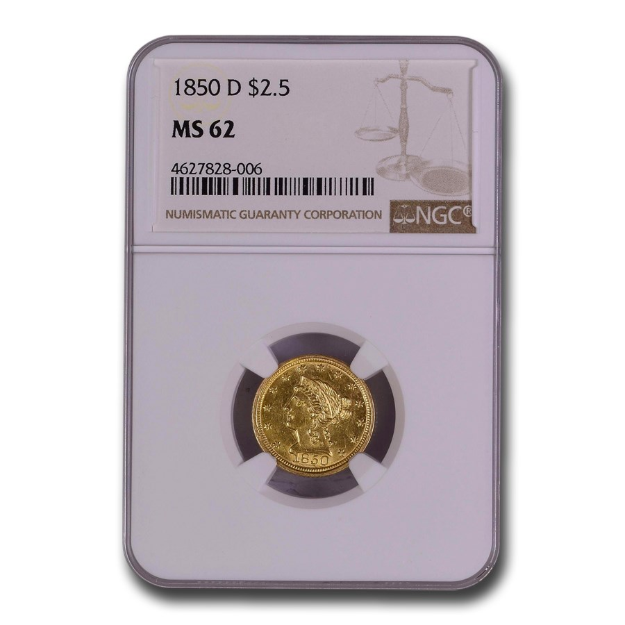 1850-D $2.50 Liberty Gold Quarter Eagle MS-62 NGC
