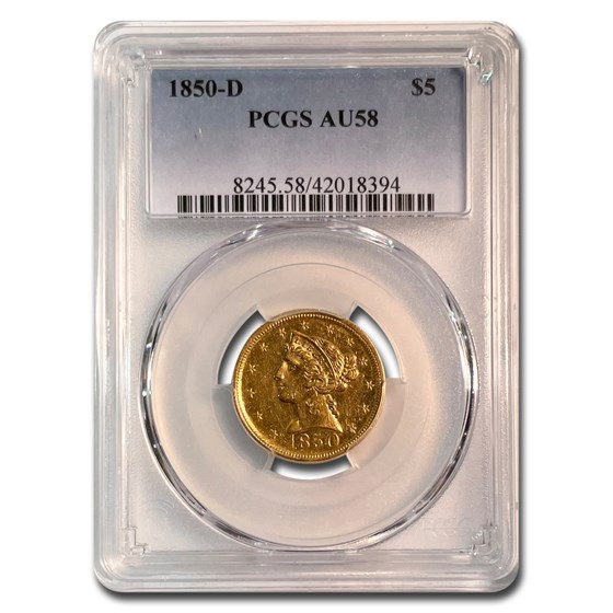 1850-D $5 Liberty Gold Half Eagle AU-58 PCGS