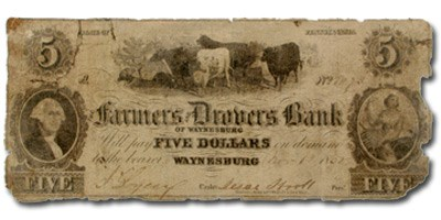 1850 Farmers & Drovers Bk of Waynesburg,PA $5 PA-695 COUNTERFEIT