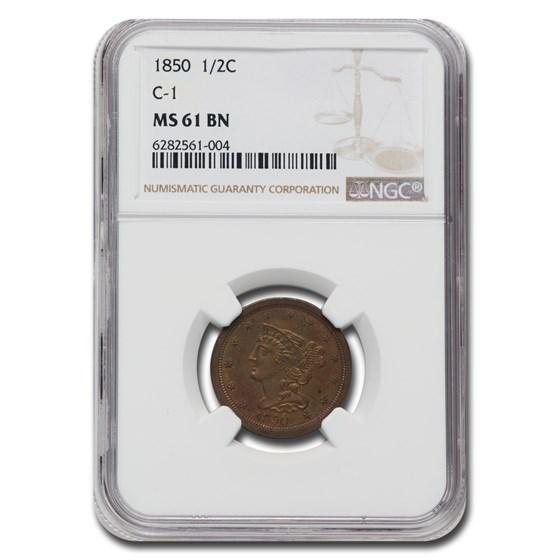 1850 Half Cent MS-61 NGC (Brown, C-1)