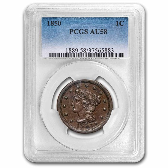 1850 Large Cent AU-58 PCGS