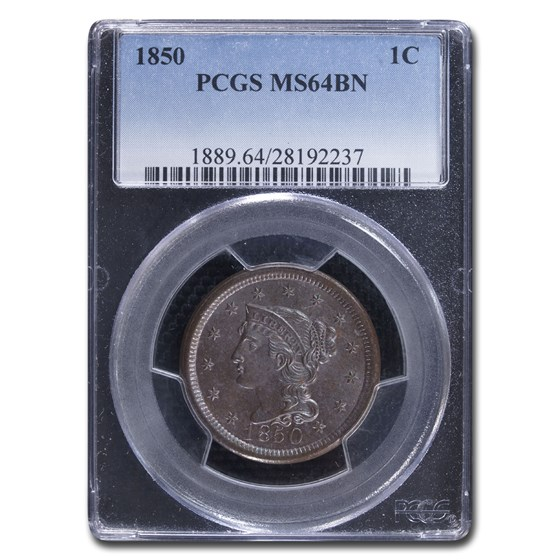 1850 Large Cent MS-64 PCGS (Brown)