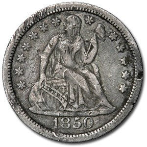 1850 Liberty Seated Dime XF Details (Rim Dings)