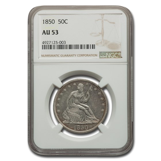 1850 Liberty Seated Half Dollar AU-53 NGC