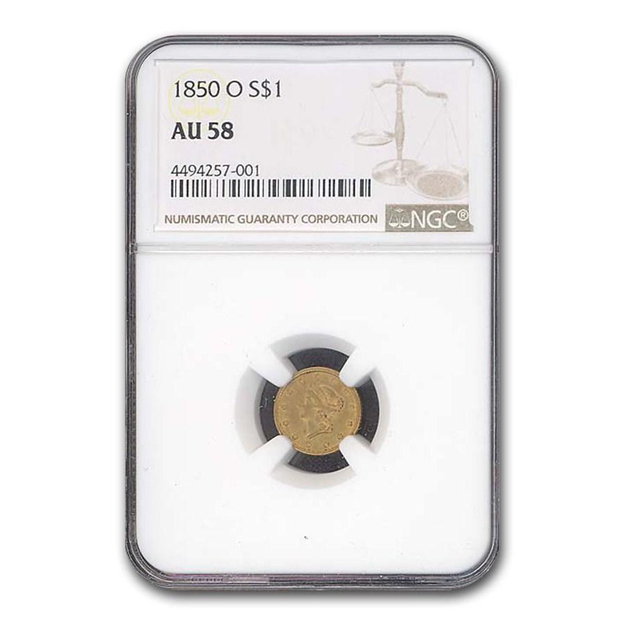 1850-O $1 Liberty Head Gold AU-58 NGC