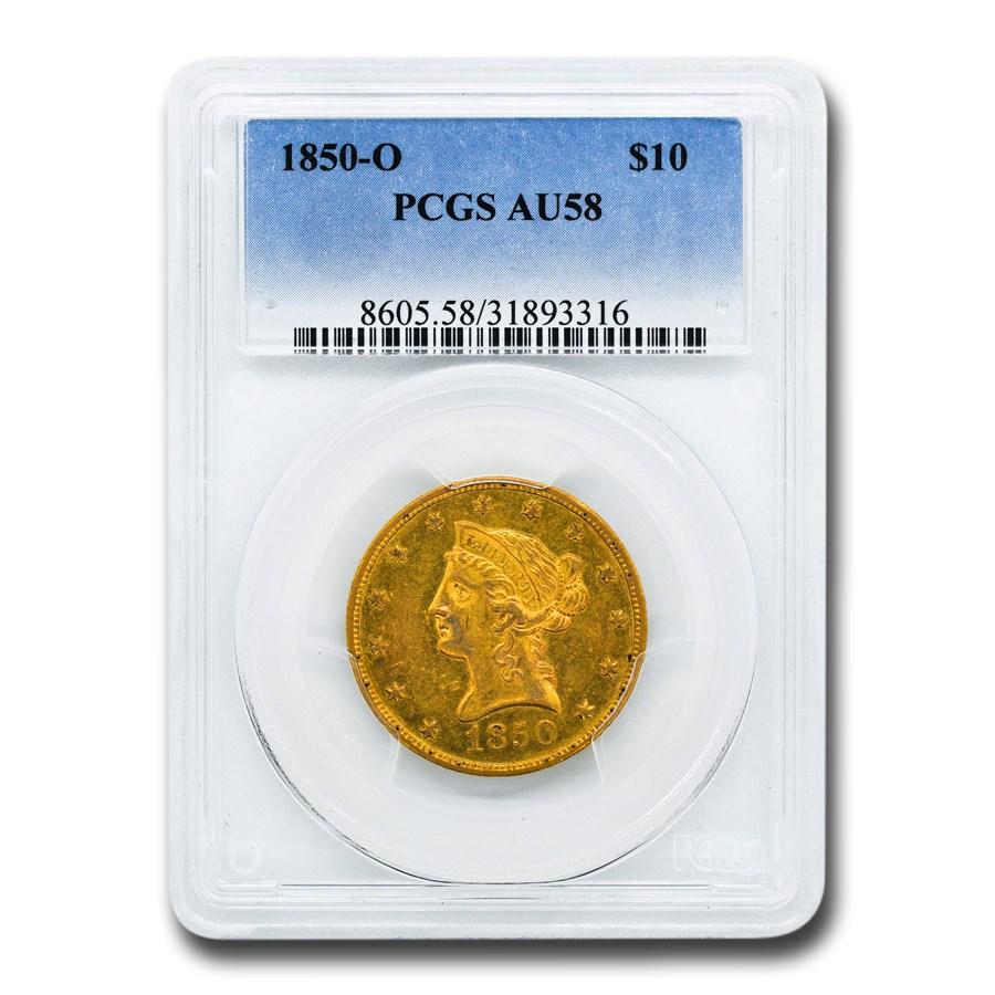 1850-O $10 Liberty Gold Eagle AU-58 PCGS