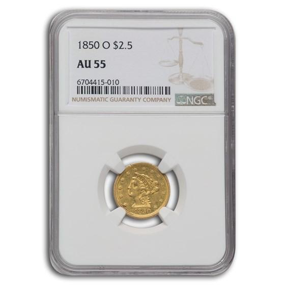1850-O $2.50 Liberty Gold Quarter Eagle AU-55 NGC