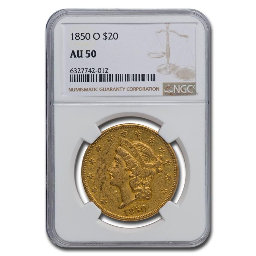 1850-O $20 Liberty Gold Double Eagle AU-50 NGC