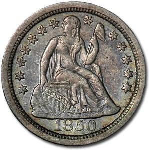 1850-O Liberty Seated Dime XF Details (Porous)