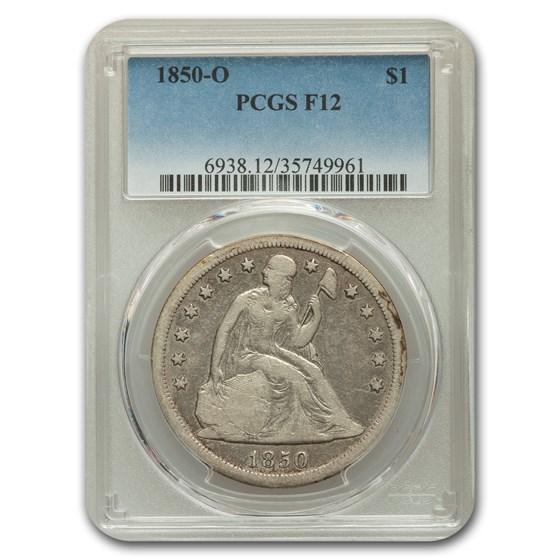 1850-O Liberty Seated Dollar Fine-12 PCGS