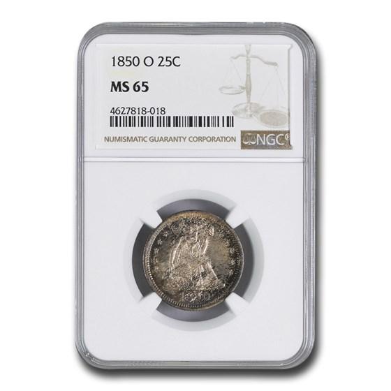 1850-O Liberty Seated Quarter MS-65 NGC