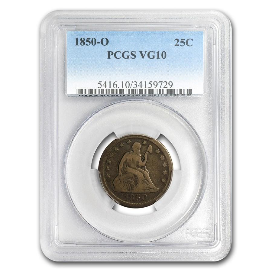 1850-O Liberty Seated Quarter VG-10 PCGS