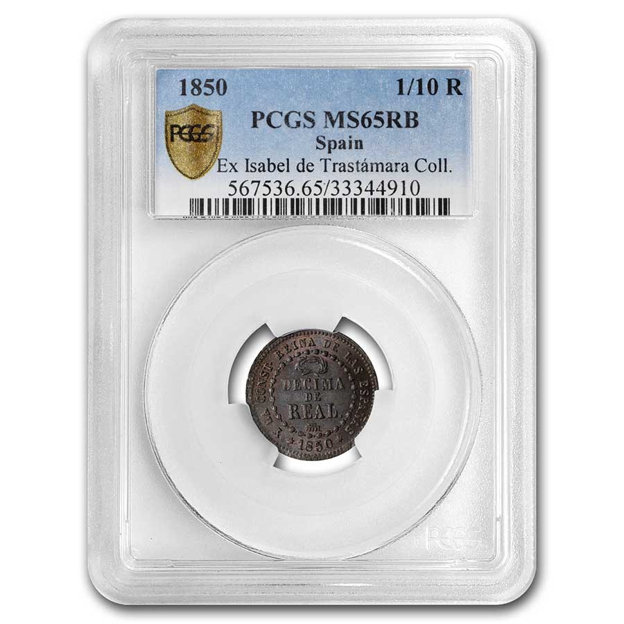 1850 Spain Copper 1/10 Real MS-65 PCGS (Red/Brown)