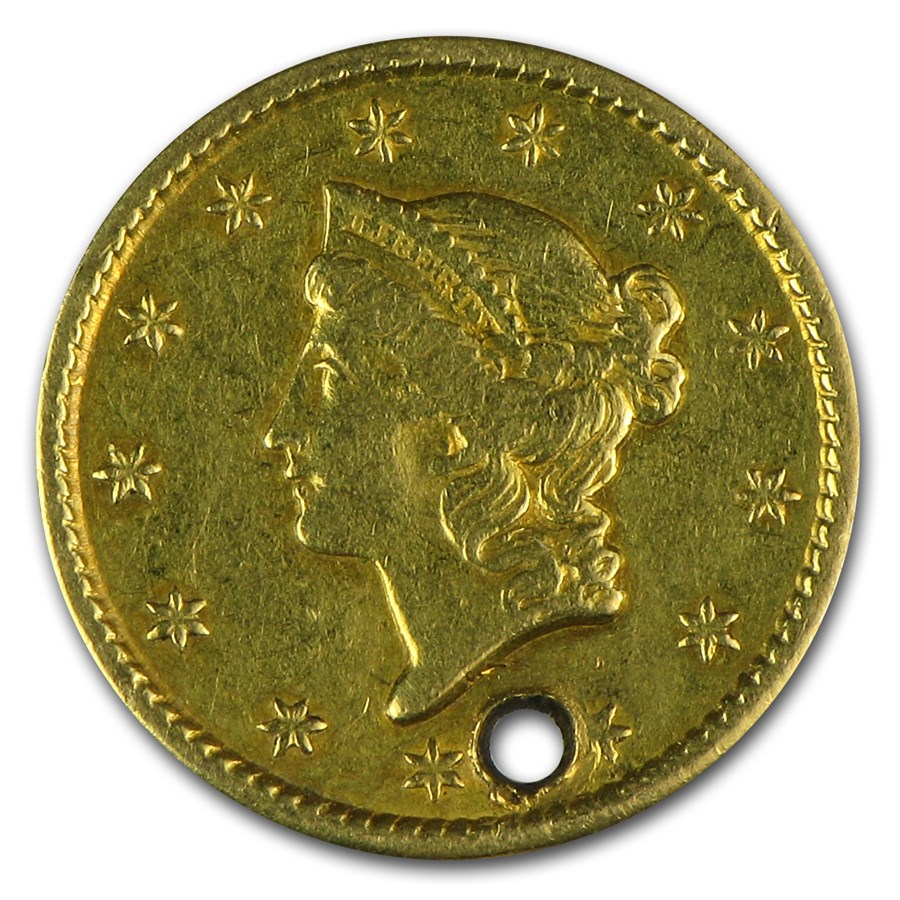 1851 $1 Liberty Head Gold XF Details (Holed)