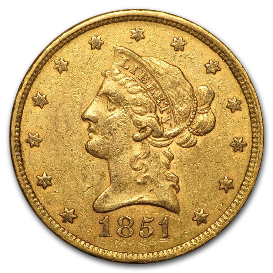 1851 $10 Liberty Gold Eagle AU