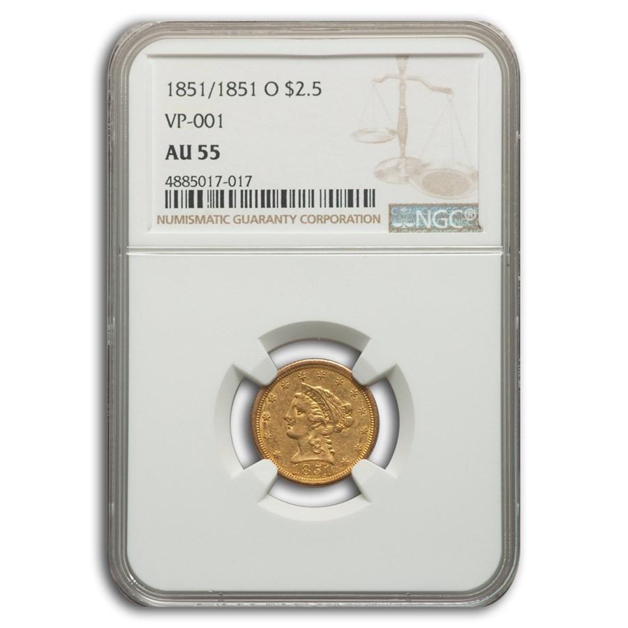1851/1851-O $2.50 Liberty Gold Quarter Eagle AU-55 NGC (VP-001)