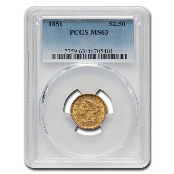 1851 $2.50 Liberty Gold Quarter Eagle MS-63 PCGS