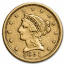 1851 $2.50 Liberty Gold Quarter Eagle XF