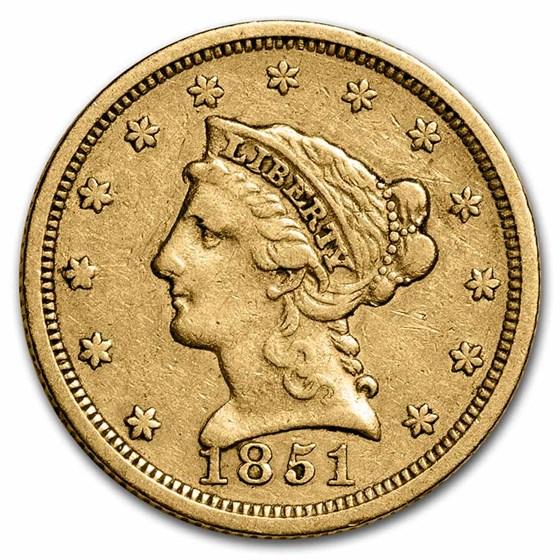 1851 $2.50 Liberty Gold Quarter Eagle XF