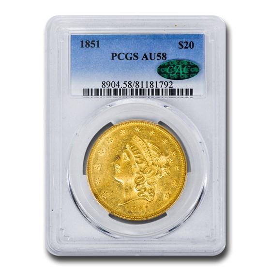 1851 $20 Liberty Gold Double Eagle AU-58 PCGS CAC