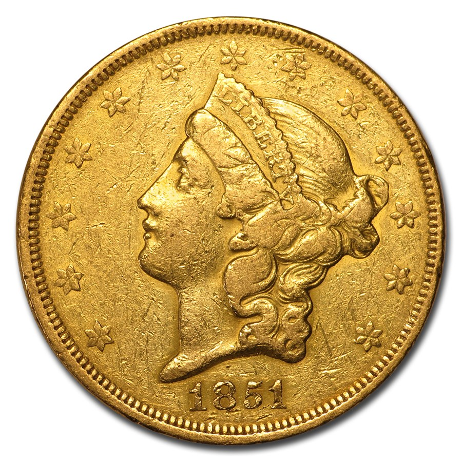 1851 $20 Liberty Gold Double Eagle VF