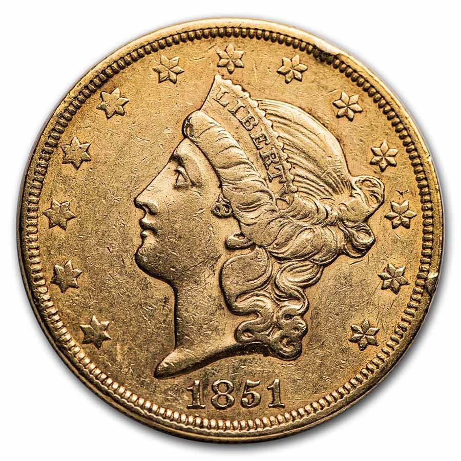 1851 $20 Liberty Gold Double Eagle XF