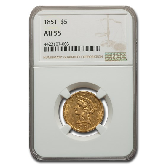 1851 $5.00 Liberty Gold Half Eagle AU-55 NGC